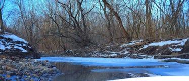Ryssland Rysk skogvår i Ryssland härlig natur, floden i vintern, härliga modeller av naturen på vattnet, på Arkivfoto