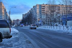 Ryssland St Petersburg, gata 17,01,2013 i ett modernt sova a Royaltyfri Bild