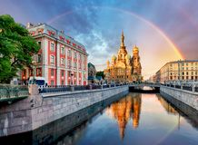 Ryssland St Petersburg - kyrklig frälsare på Spilled blod med rommar royaltyfri bild