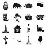 Ryssland svarta enkla symboler Royaltyfria Bilder