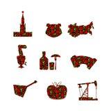 Ryssland symboluppsättning Ryskt nationellt tecken målade Khokhloma Royaltyfria Bilder