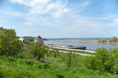 Ryssland Tatarstan tekniker - 05 11 2019, Volga River invallning nära Bolgar det historiska och arkeologiska komplexet arkivfoto