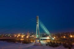 Ryssland Tyumen Bron på floden turnerar Royaltyfria Bilder