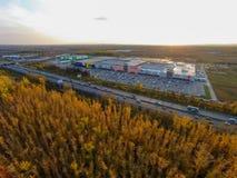 Ryssland Ufa 09 2014 Den flyg- sikten av stort shoppar Royaltyfri Foto