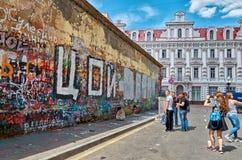 Ryssland Viktor Tsoi Wall på den gamla Arbat gatan i Moskva 20 Juni 2016 Royaltyfri Fotografi