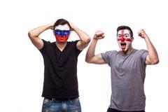 Ryssland vs England Fotbollsfan av landslag visar sinnesrörelser: Ryssland förlorar, den England segern Fotografering för Bildbyråer