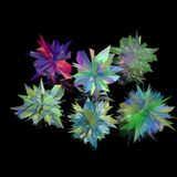 Сrystal. Six multi-colored crystals on a black background Royalty Free Stock Photography