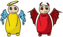 Rysujący barwiony diabeł i anioł Zdjęcia Royalty Free