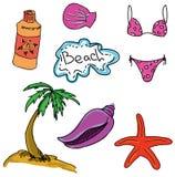 Rysujący barwiony obrazek z plażą Zdjęcie Stock