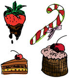 Rysujący barwiony słodki jedzenie Zdjęcie Stock