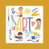 Rysujący dzieciak chłopiec dziewczyny charakteru wektorowego obraz w dziecięcej szkole artystycznej z artystą wytłacza wzory farb ilustracji