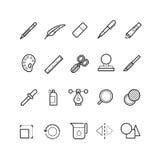 Rysujący, projektów narzędzi wektoru linii teksta redaktora ikony ustawiać dla sieci ui app Zdjęcia Royalty Free