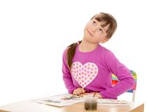 rysuje dziewczyn farby Zdjęcie Stock