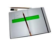 RYSUJE rozkład W notatniku Z LINIOWYM I ołówkiem fotografia royalty free