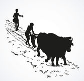 rysuje tła trawy kwiecistego wektora Pierwotny rolnictwo Chłop taktujący pole royalty ilustracja