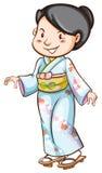 Rysunek kobieta jest ubranym Azjatycką suknię ilustracji