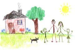 rysunek rodziny patyk Fotografia Stock
