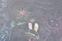 Rysunki na asfalt kredzie Zdjęcie Stock