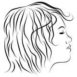 rysunkowa żeńska kierownicza linia profil royalty ilustracja