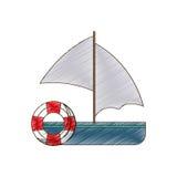 rysunkowa żeglowanie łodzi boja życia podróż royalty ilustracja