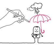 Rysunkowa duża ręka i postać z kreskówki - podeszczowa ochrona ilustracji