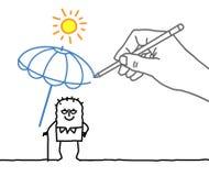 Rysunkowa duża ręka i postać z kreskówki - upał ochrona ilustracji