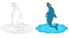KOLORYSTYKI książki d DLA delfinu Obrazy Stock