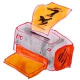Rysunkowa kreskówka żartuje akwareli drukarkę na bielu Fotografia Stock