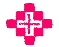 Rysunkowa logo medycyna, krzyż i ilustracji