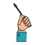 Rysunkowa ręki mienia śrubokrętu narzędzia naprawa ilustracja wektor