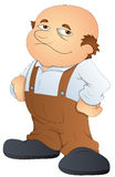 Gruby Łysy mężczyzna - kreskówka charakteru wektoru ilustracja ilustracji