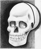 rysunkowego istoty ludzkiej papieru ołówka przerobowy czaszki rocznik Fotografia Stock
