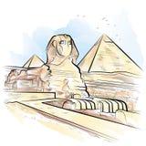 Rysunkowego koloru sfinks w Giza i ostrosłupy, Egipt Zdjęcia Royalty Free