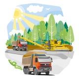 Rysunkowego koloru usypu ciężarówek budowa droga Zdjęcia Stock