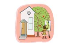 rysunkowej dziewczyny mały drzewo Obrazy Stock
