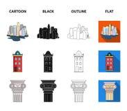 Rysunkowi akcesoria, metropolia, domu model Architektur ustalone inkasowe ikony w kreskówce, czerń, kontur, mieszkanie styl royalty ilustracja