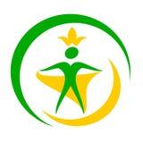 Rysunkowi logo kuli ziemskiej zdrowie ludzkie ilustracja wektor