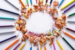 Rysunkowi narzędzia, udział kolorowi ołówki w okręgu Obrazy Royalty Free