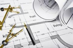 Rysunkowi narzędzia i budynku plan Zdjęcia Stock