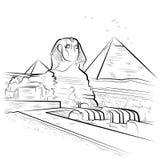 Rysunkowi ostrosłupy i sfinks w Giza, Egipt Fotografia Royalty Free
