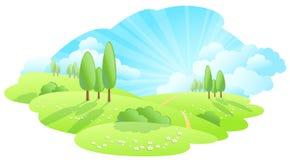 rysunkowi ręki krajobrazu drzewa zdjęcia stock