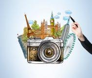 Rysunkowi sławni światowi punkty zwrotni, fotografia, ilustracji