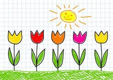rysunkowi tulipany Obraz Royalty Free