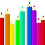 rysunkowi ustaleni narzędzia Barwioni ołówki na szarym tle Zdjęcia Stock