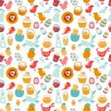 Rysunkowy bezszwowy Wielkanocny ornament Obraz Royalty Free