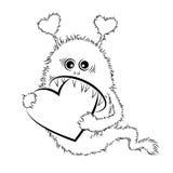 Rysunkowy chłodno potwór w miłości St walentynki Fotografia Royalty Free