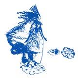 Rysunkowy czarodziejski czarodziejki powietrza odprowadzenie na chmury nakreślenia ręka rysującej ilustraci Zdjęcie Royalty Free