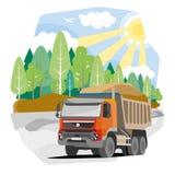 Rysunkowy czerwony usyp ciężarówki piasek Fotografia Stock