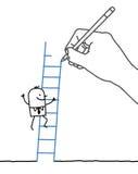 Rysunkowy dużej ręki i kreskówki biznesmen - wspinaczkowy up royalty ilustracja