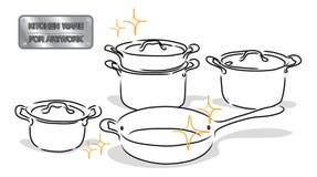 Rysunkowy kitchenware Obrazy Royalty Free